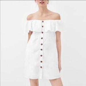 Zara button down white ruffle off shoulder dress